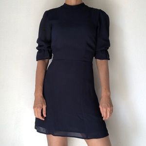 Reformation Solid Navy Mini Dress Puff Sleeve 0